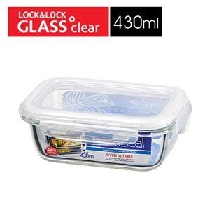 樂扣樂扣第三代玻璃保鮮盒430ML緹花上蓋-長方形