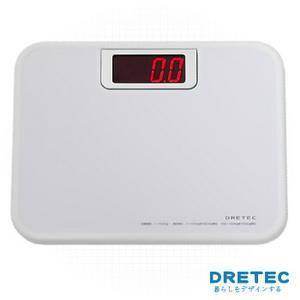 【日本DRETEC】大螢幕紅光LED體重計白色
