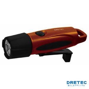【日本DRETEC】「手搖式」手電筒-橘色