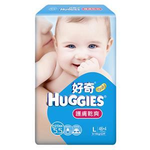 【箱購】好奇PH5.5 護膚乾爽紙尿褲_L號 (46P+8P)X4包/箱