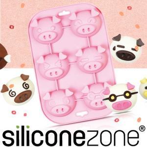 【Siliconezone 】施理康耐熱粉紅小豬造型瑪芬蛋糕模