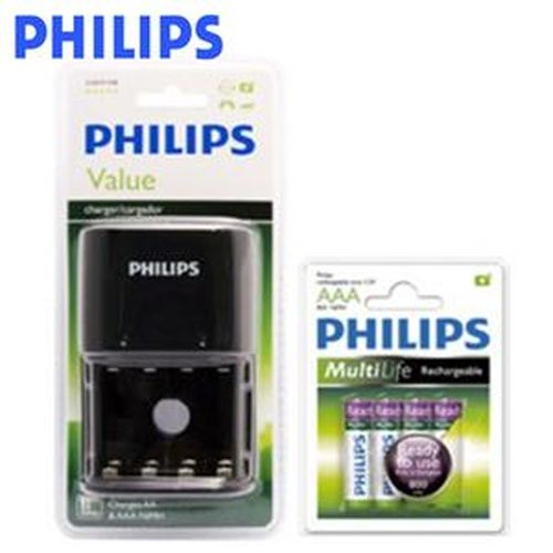 PHILIPS 飛利浦 經濟型鎳氫電池充電器 黑 + 4號4入低自放電池