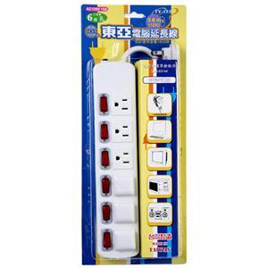 【東亞】3孔6開關6插座延長線/3.6公尺 (12尺) TY-133-12尺