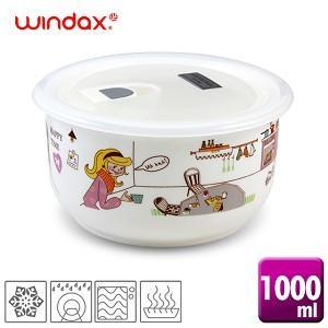 ★韓國原裝★《WINDAX》淘氣女孩陶瓷微波碗(1000ml)