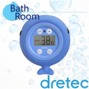 【日本DRETEC】『小藍鯨』可浮式電子計時水溫計-藍