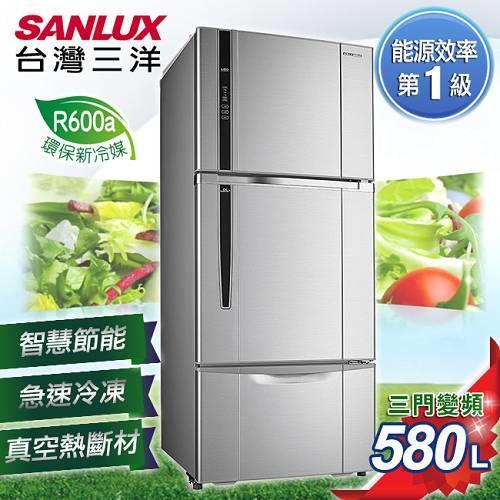 【SANLUX台灣三洋】580L三門直流變頻冰箱。銀色系/SR-B580CV