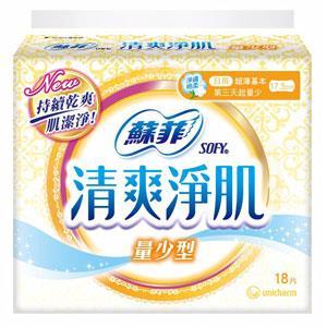 蘇菲 清爽淨肌 日用超薄 量少型17.5cm (18PX6包)/組 #9463