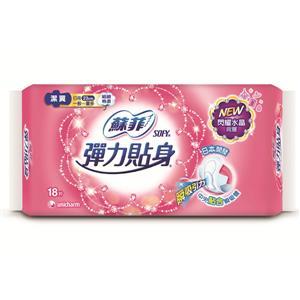 蘇菲 彈力貼身日用潔翼 衛生棉 23cm (18片x6包)/組 #0228