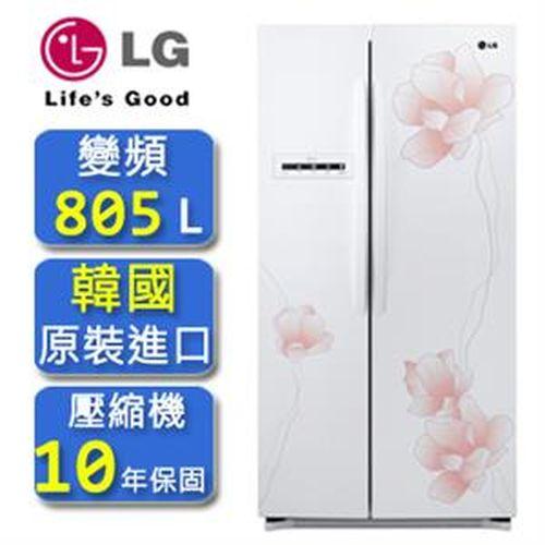 LG 花之賞系列直驅變頻對開冰箱花漾白805公升GR-BL78M