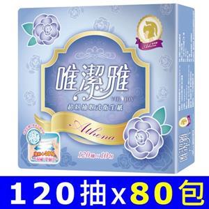 【量販組】唯潔雅Athena超韌抽取式衛生紙120抽x10包x8串/箱