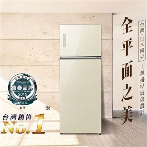 Panasonic 422公升玻璃ECONAVI雙門變頻冰箱NR-B427TG-N(翡翠金)