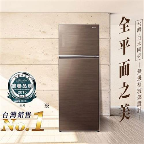 Panasonic 485公升玻璃ECONAVI雙門變頻冰箱NR-B487TG-T(翡翠棕)