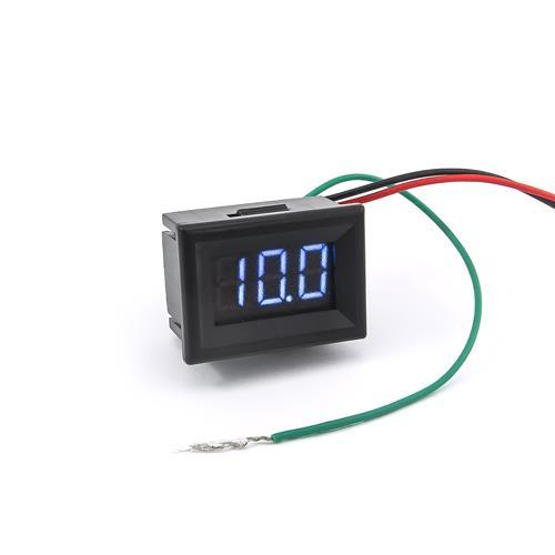 防水型0.36三位元LED電壓錶頭 DC0~100V(黑殼藍光)