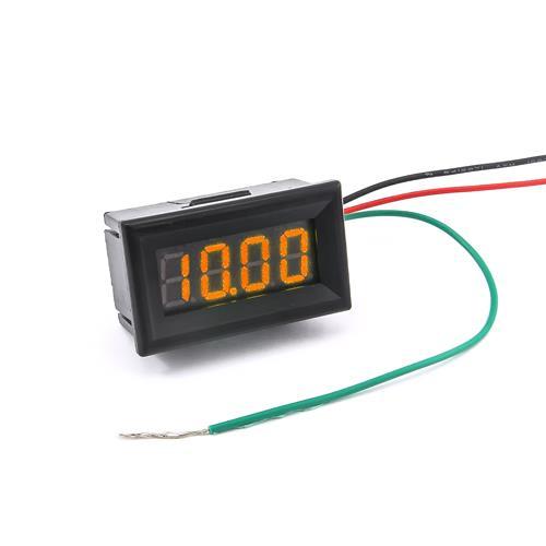 防水型0.36四位元 LED電壓錶頭 DC0~33V(黑殼黃光)
