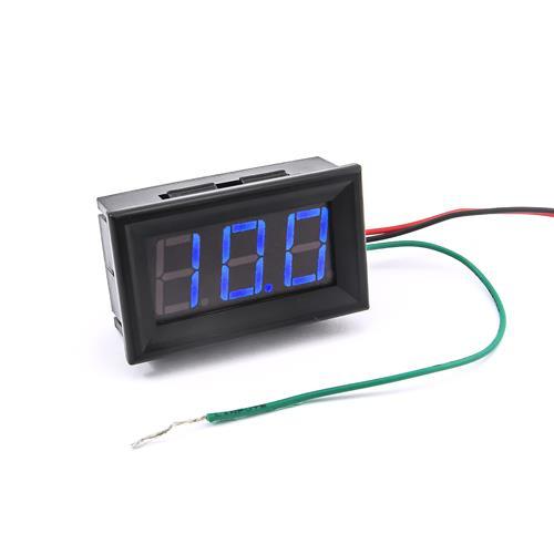 防水型0.56三位元 LED電壓錶頭 DC0~100V(黑殼藍光)