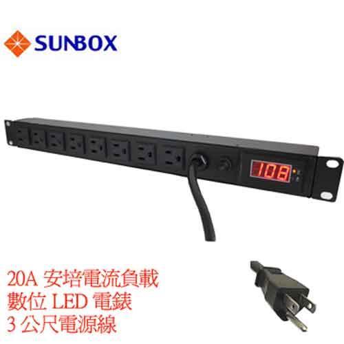 SUNBOX 8孔機架電源排插 SPME-2012-08