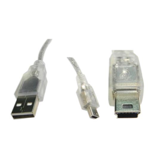 USB A公對迷你5PIN 鍍金透明線1.8M