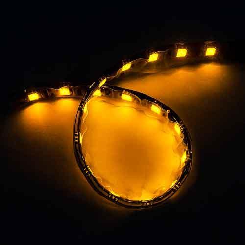 5050黑底扁條燈18燈 30cm黃