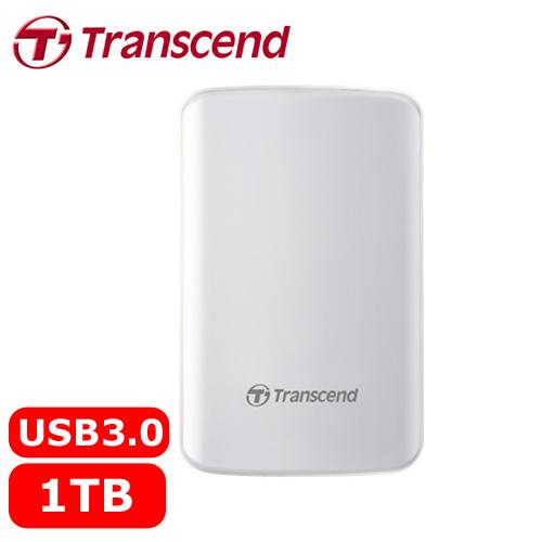 Transcend創見 25D3 1TB 2.5吋 懸吊式吸震行動硬碟 白