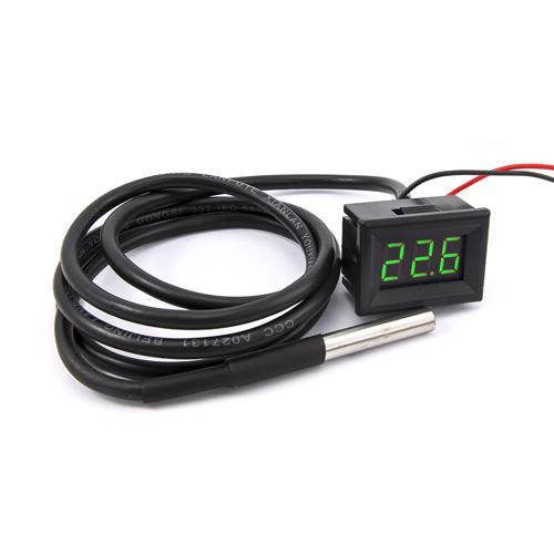 防水型0.36三位元 LED溫度錶頭/DS18B20(黑殼綠光)