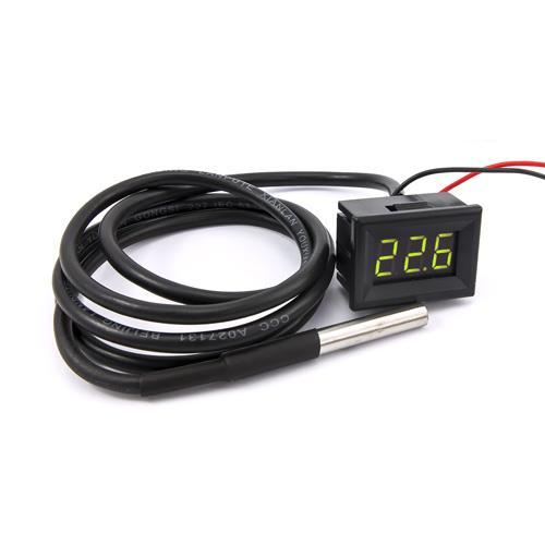 防水型0.36三位元 LED溫度錶頭/DS18B20(黑殼黃綠光)