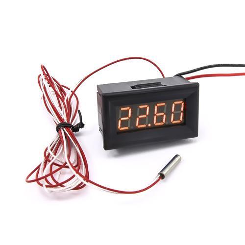防水型0.36四位元 PT100溫度錶頭(黑殼黃光)