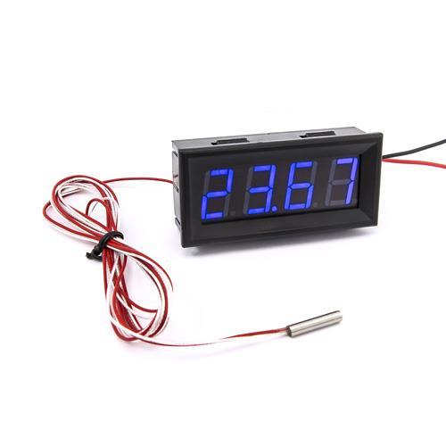 防水型0.56四位元 LED溫度錶頭/PT100(黑殼藍光)