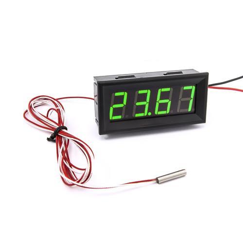 防水型0.56四位元 LED溫度錶頭/PT100(黑殼綠光)