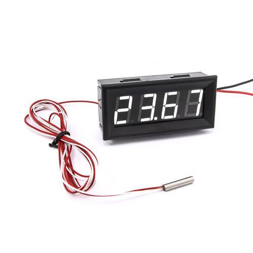 防水型0.56四位元 LED溫度錶頭/PT100(黑殼白光)