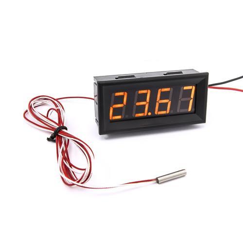 防水型0.56四位元 LED溫度錶頭/PT100(黑殼黃光)