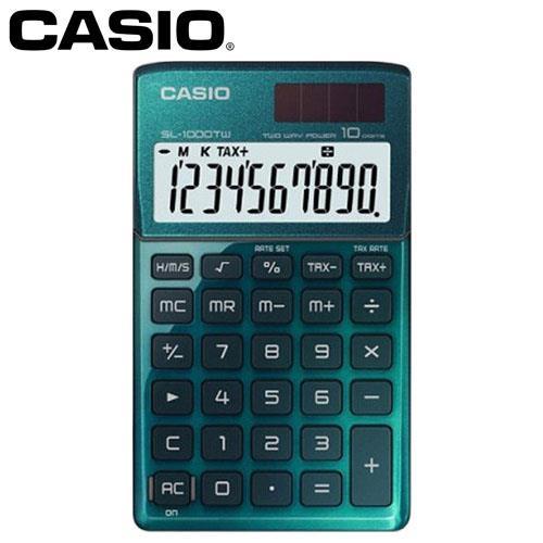 CASIO 卡西歐 10位元時尚閃耀金屬攜帶型計算機 SL-1000TW 大地綠