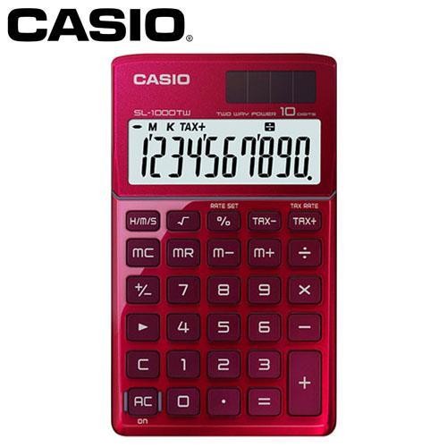 CASIO 卡西歐 10位元時尚閃耀金屬攜帶型計算機 SL-1000TW 激情紅