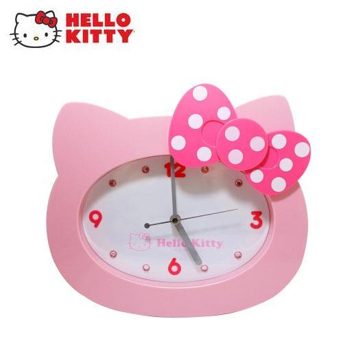 Hello Kitty點點蝴蝶結頭形掃秒掛鐘-粉