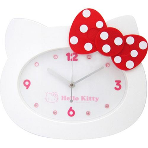 Hello Kitty點點蝴蝶結頭形掃秒掛鐘-白