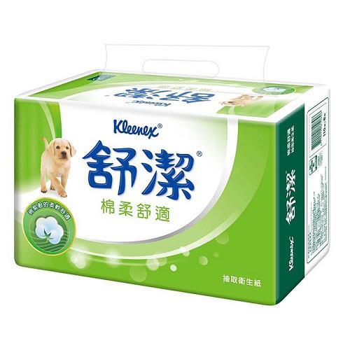 【量販組】舒潔 棉柔舒適抽取衛生紙110抽(8包x8串) / 箱