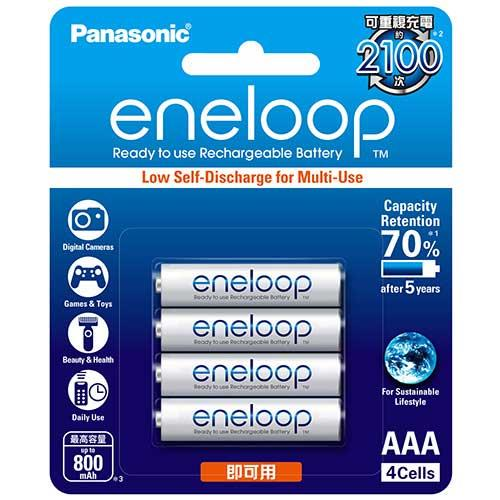 Panasonic 國際牌 4號800mAh低自放鎳氫充電電池 4只裝