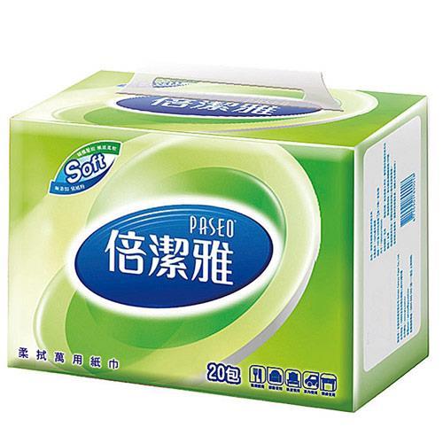 【量販組】倍潔雅 輕巧包抽取式柔拭紙巾120抽x80包/箱