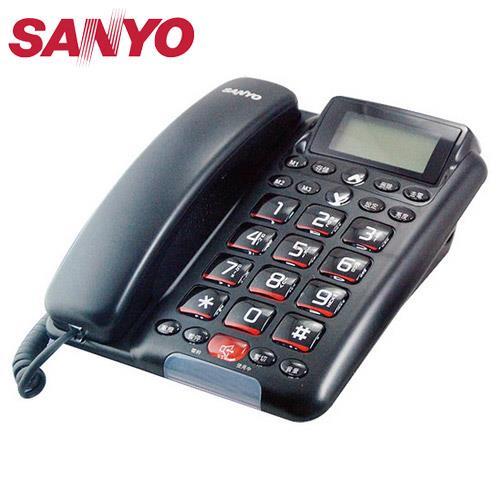 SANYO 三洋 全免持对讲来电显示有线电话 TEL-011 黑