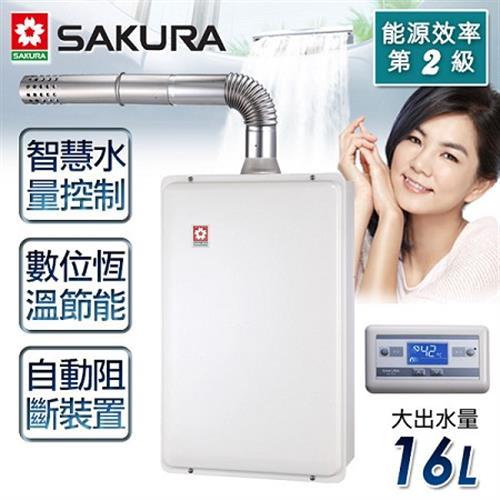 【櫻花牌】16L浴SPA 數位恆溫強制排氣熱水器/SH-1691 (天然瓦斯)
