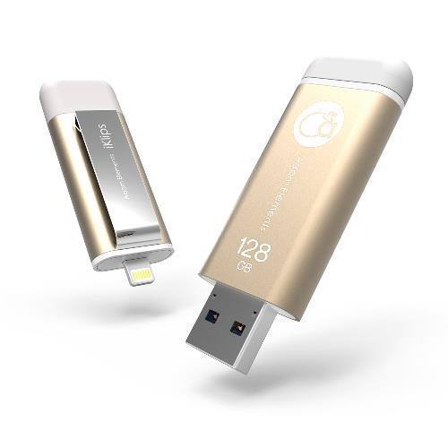 亞果iKlips iPhone/iPad專用隨身碟 128GB 金色