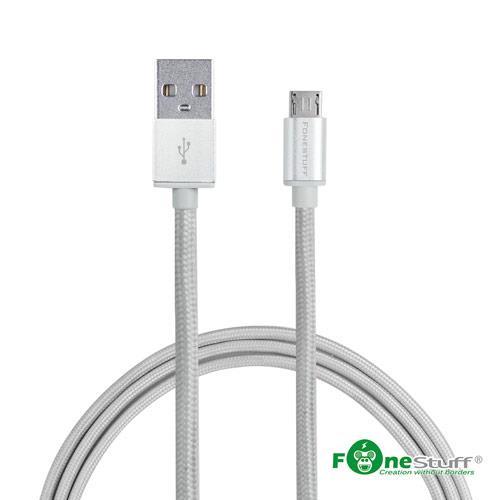 Fonestuff FSL006-S Micro USB編織鋁合金一米傳輸線-銀