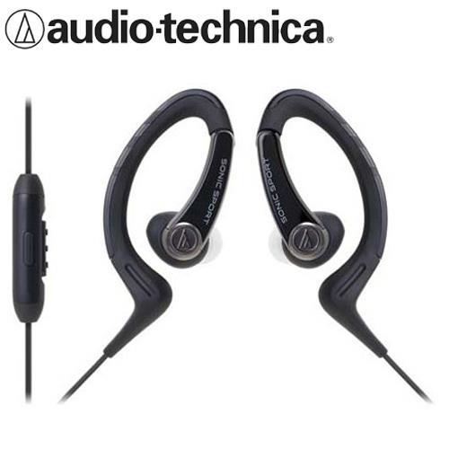 鐵三角 ATH-SPORT1iS 防水運動智慧手機用耳掛式耳機 黑