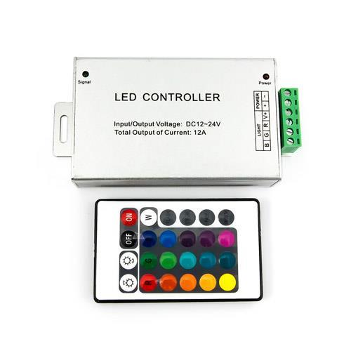RGB燈條控制器+24鍵遙控器(共陽) 12A