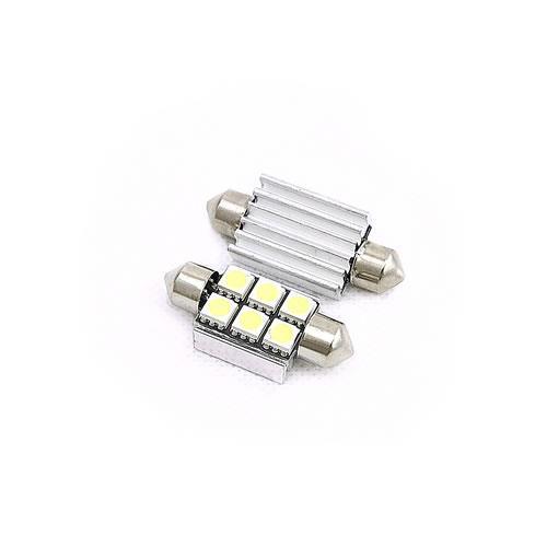 36mm 雙尖5050LED 寬6燈 白光(2PCS/卡)