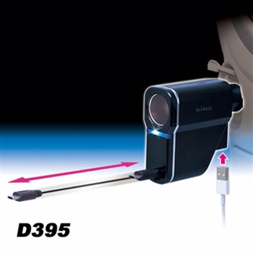 日本SEIWA 伸縮捲線式microUSB 1.2A+USB 2.4A+單孔直插式電源擴充器D395