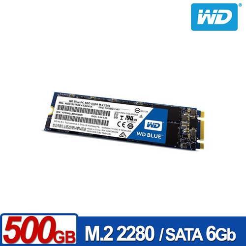 WD SSD 500GB M.2 2280 SATA 固態硬碟(藍標)【送旅行收納袋三件組】