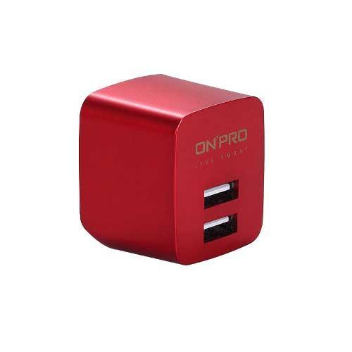 ONPRO UC-2P01 USB雙埠電源供應器/充電器(5V/2.4A)金屬紅