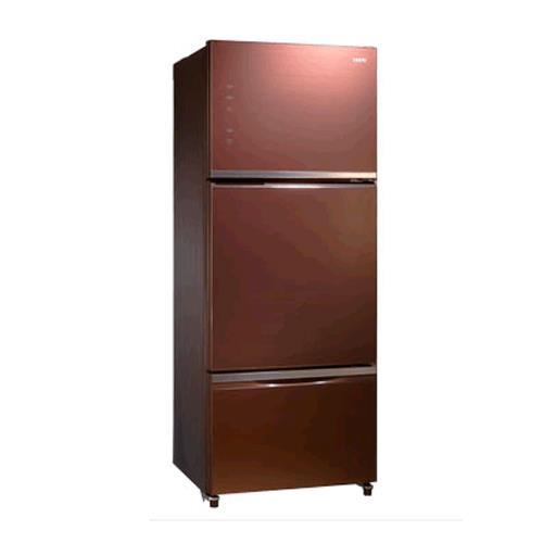 SAMPO 聲寶455公升玻璃三門變頻冰箱( SR-P46GDV(R7)琉璃棕
