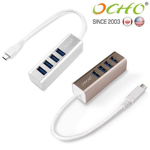 OCHO USB3.1 TYPE-C to USB3.0 4-Port HUB高速集線擴充器-MLG-9314UH-GOL 金色