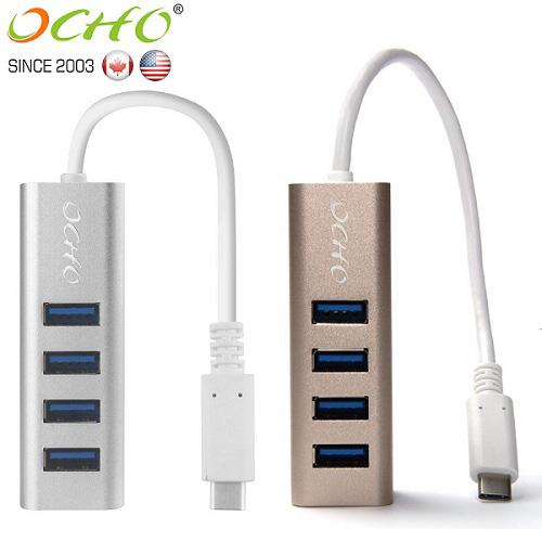 OCHO USB3.1 TYPE-C to USB3.0 4-Port HUB高速集線擴充器-MLG-9314UH-SIL 銀色